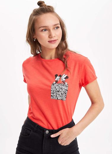 DeFacto Mickey Mouse Lisanslı Kısa Kollu T-shirt Kırmızı